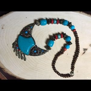 Faux turquoise and coral necklace